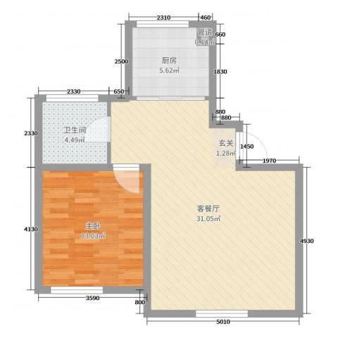 天富东苑1室2厅1卫1厨68.00㎡户型图