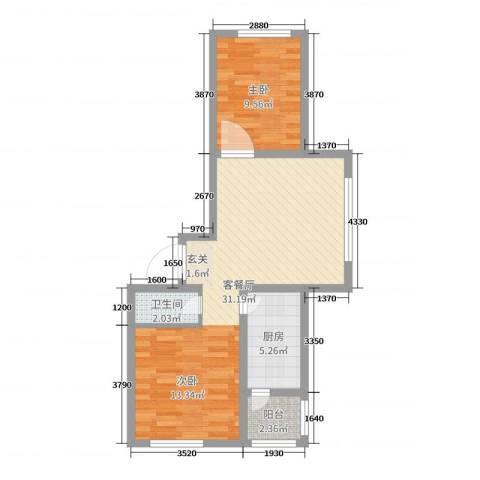 天富东苑1室2厅1卫1厨63.00㎡户型图