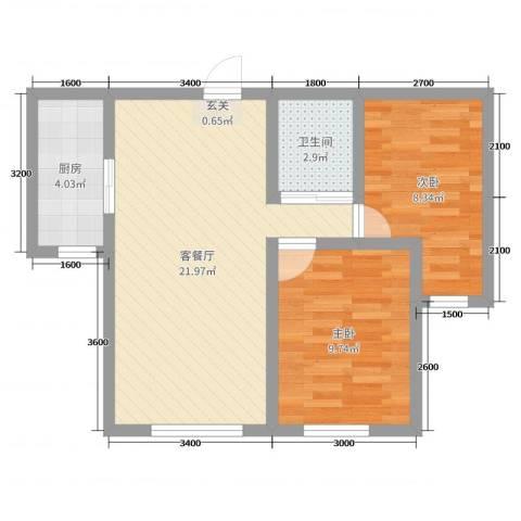 卓扬中华城2室2厅1卫1厨71.00㎡户型图