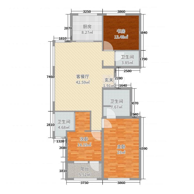 金鼎湾如院154.00㎡一期2#标准层A户型3室3厅3卫1厨