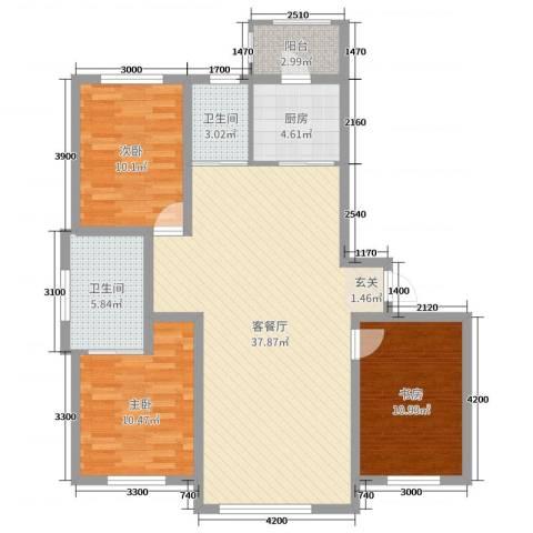 卓扬中华城3室2厅2卫1厨122.00㎡户型图