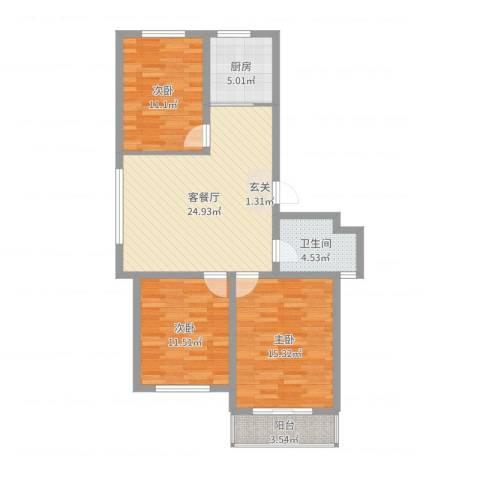 森威花园3室2厅1卫1厨95.00㎡户型图