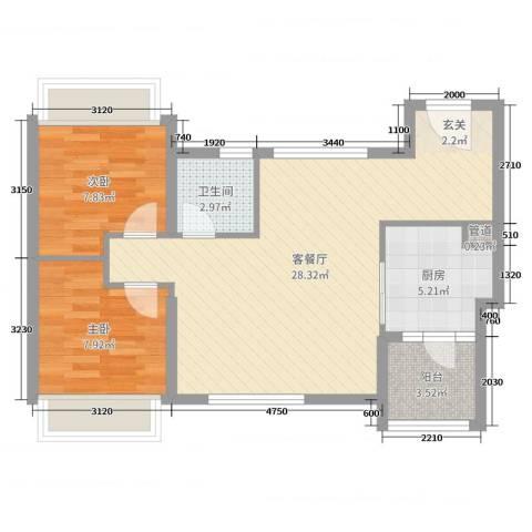 鸣翠花园四期2室2厅1卫1厨69.00㎡户型图