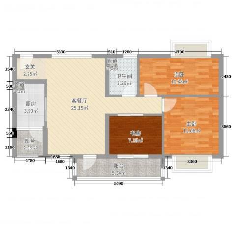 鸣翠花园四期3室2厅1卫1厨86.00㎡户型图