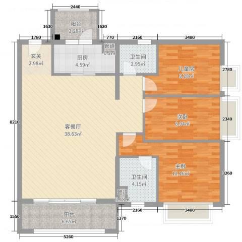 鸣翠花园四期3室2厅2卫1厨114.00㎡户型图