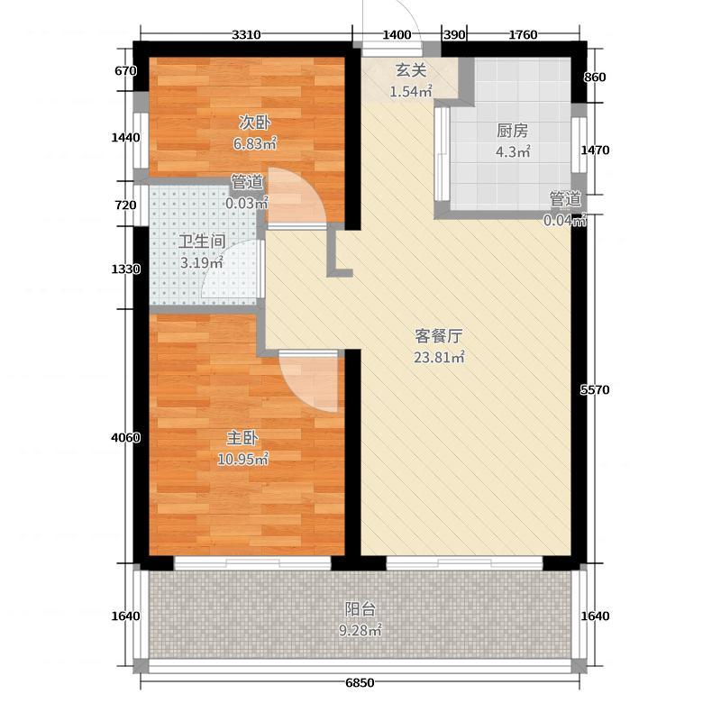 九洲绿城・翠湖香山80.30㎡高层A3户型2室2厅1卫1厨