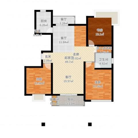 玫瑰993室1厅1卫1厨146.00㎡户型图