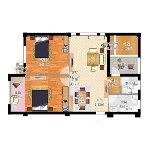 中河名庭2室2厅1卫1厨112.00㎡户型图