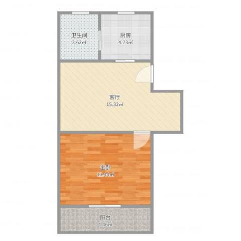 交暨路65弄小区1室1厅1卫1厨52.00㎡户型图