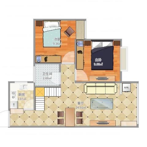 广裕花园二期2室1厅1卫1厨61.00㎡户型图