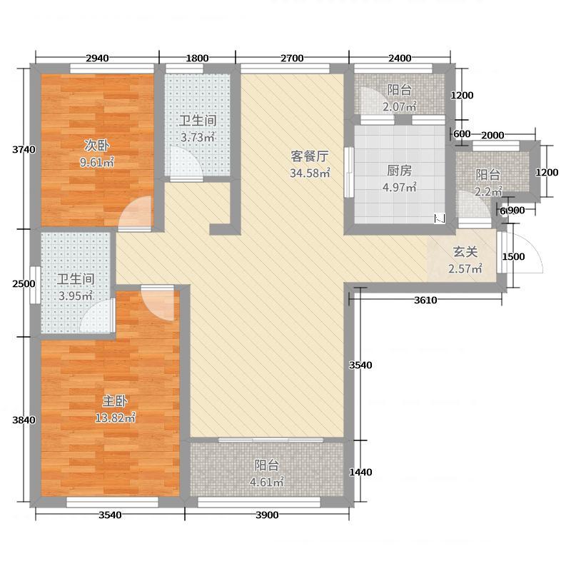 中房隐�X八十泉127.00㎡小高层B户型3室3厅2卫1厨