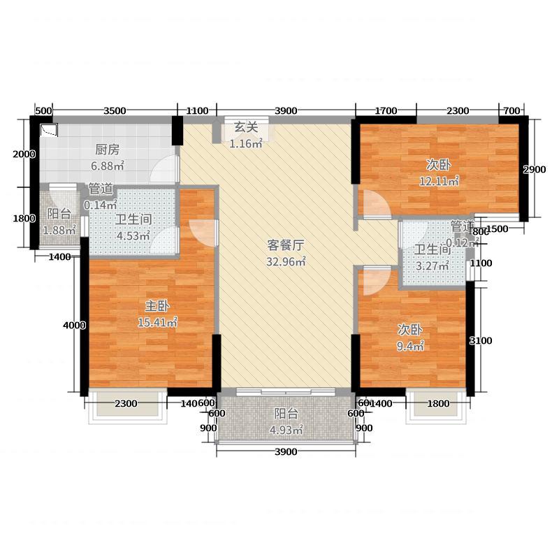 建华玖珑湾125.00㎡H-2户型3室3厅2卫