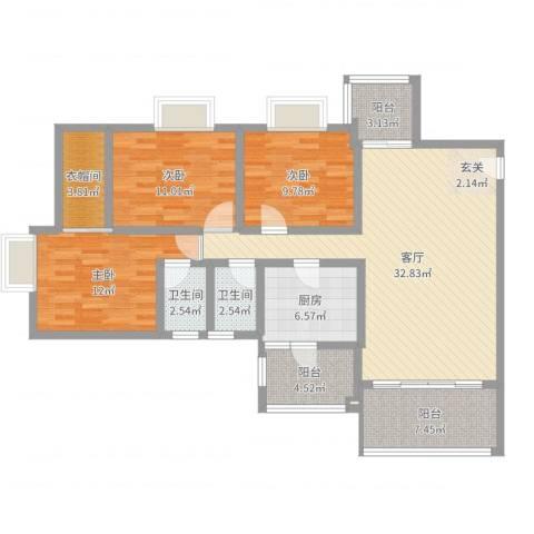 顺景半山豪苑3室1厅2卫1厨120.00㎡户型图