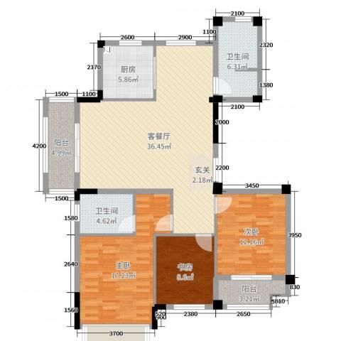 金色华府3室2厅2卫1厨223.00㎡户型图