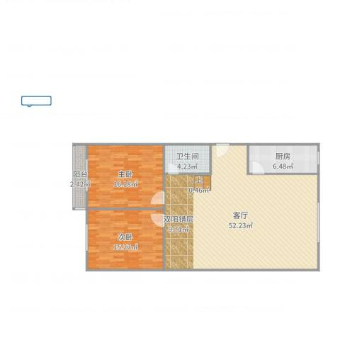 益博公寓2室1厅1卫1厨122.00㎡户型图