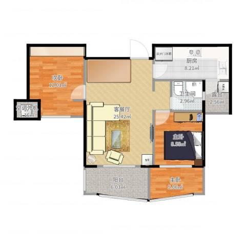 融侨华府3室2厅1卫1厨90.00㎡户型图