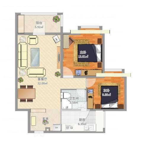 东辰阳光清华2室2厅2卫1厨89.00㎡户型图