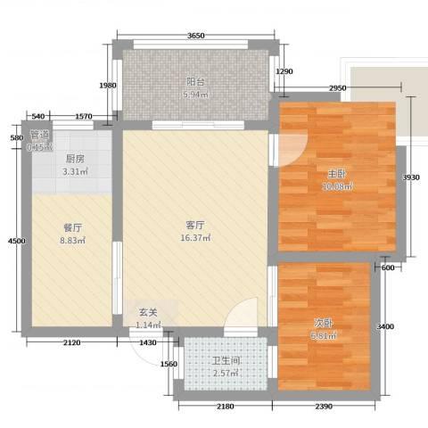 海南东方锦绣蓝湾2室2厅1卫0厨67.00㎡户型图