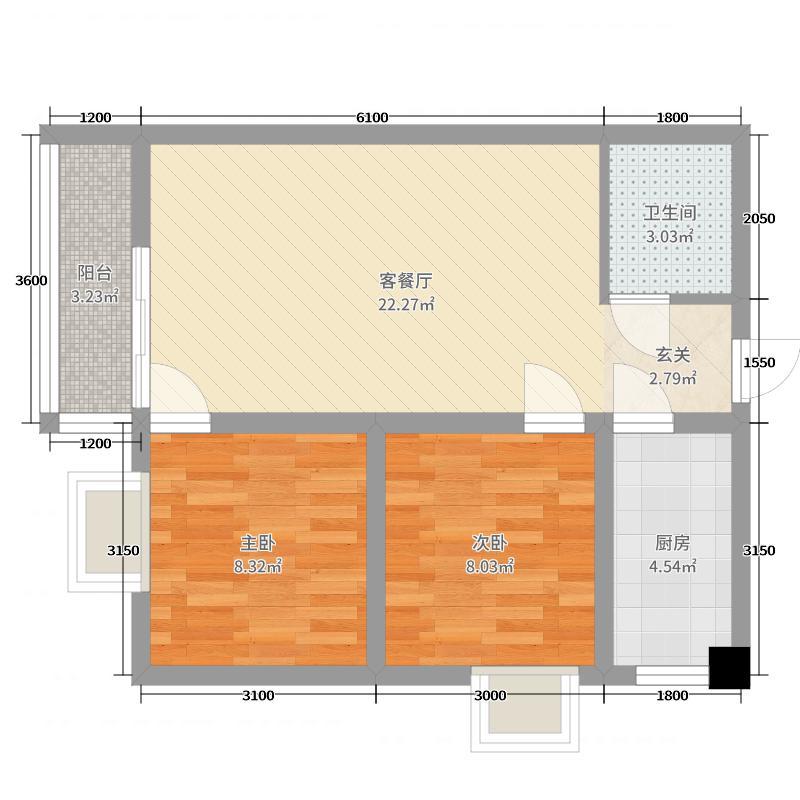 澜岸・泊宫75.67㎡A1-1户型2室2厅1卫1厨
