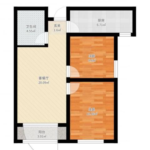宏程华苑2室2厅1卫1厨69.00㎡户型图