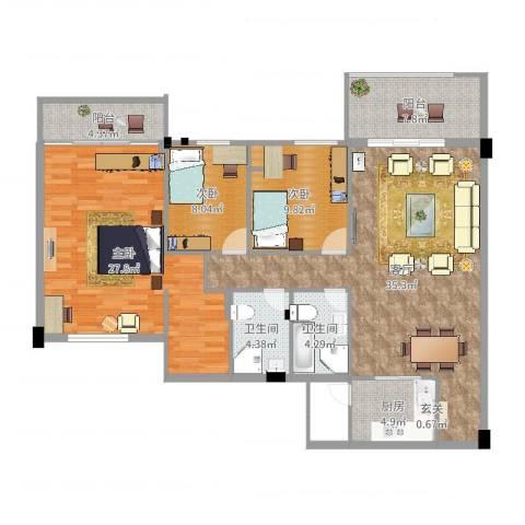 碧翠华庭3室1厅2卫1厨133.00㎡户型图