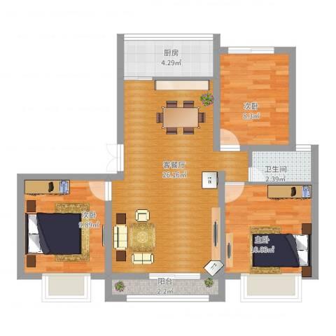 金鼎旺座3室2厅1卫1厨91.00㎡户型图