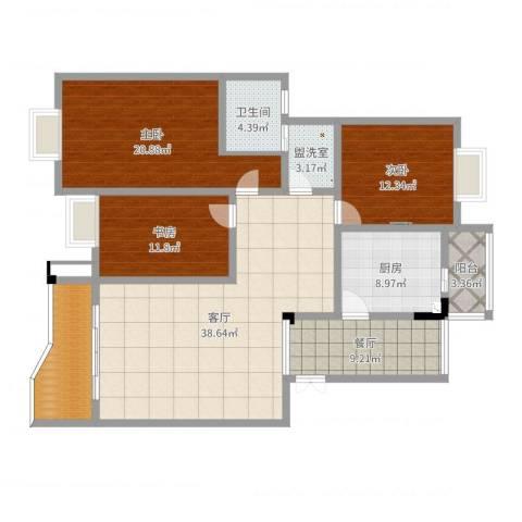 缙云小区3室4厅1卫1厨150.00㎡户型图