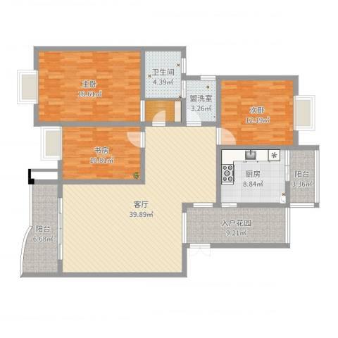 缙云小区3室3厅1卫1厨149.00㎡户型图