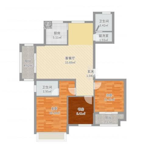 金色华府3室2厅2卫1厨115.00㎡户型图