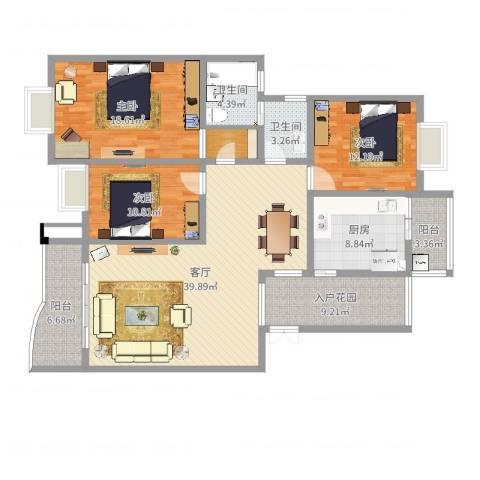 缙云小区3室1厅2卫1厨149.00㎡户型图
