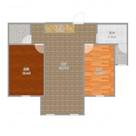红星海岚谷2室1厅1卫1厨81.00㎡户型图