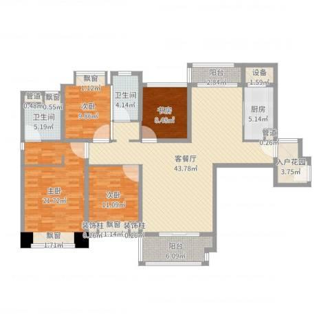 仁恒滨海半岛4室2厅2卫1厨156.00㎡户型图