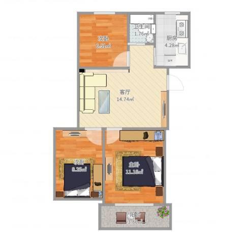 金尚小区3室1厅1卫1厨63.00㎡户型图