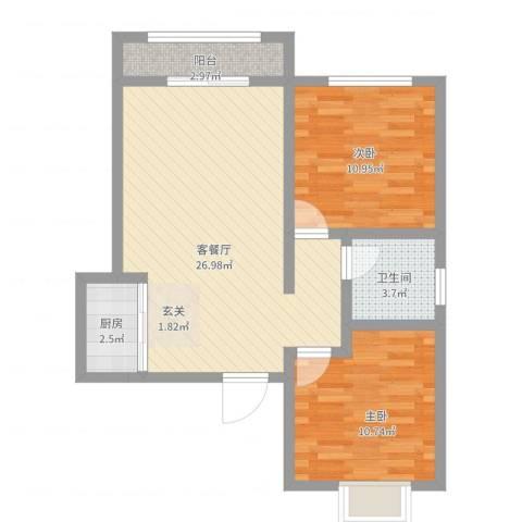 梅岭西苑2室2厅1卫1厨84.00㎡户型图