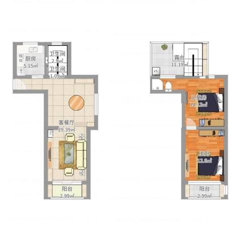 丽景新苑2室2厅2卫1厨103.00㎡户型图