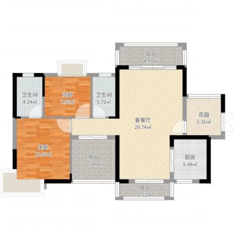 卢浮公馆2室2厅2卫1厨105.00㎡户型图