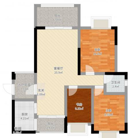 北大阳光3室2厅1卫1厨90.00㎡户型图