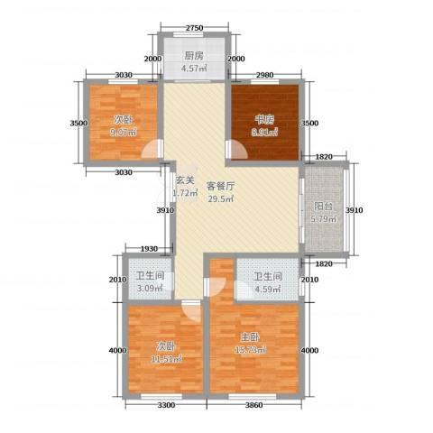 玉溪新天地A区4室2厅2卫1厨110.00㎡户型图