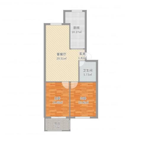南湖文苑2室2厅1卫1厨80.00㎡户型图