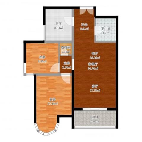 建邦华庭2室2厅1卫1厨106.00㎡户型图