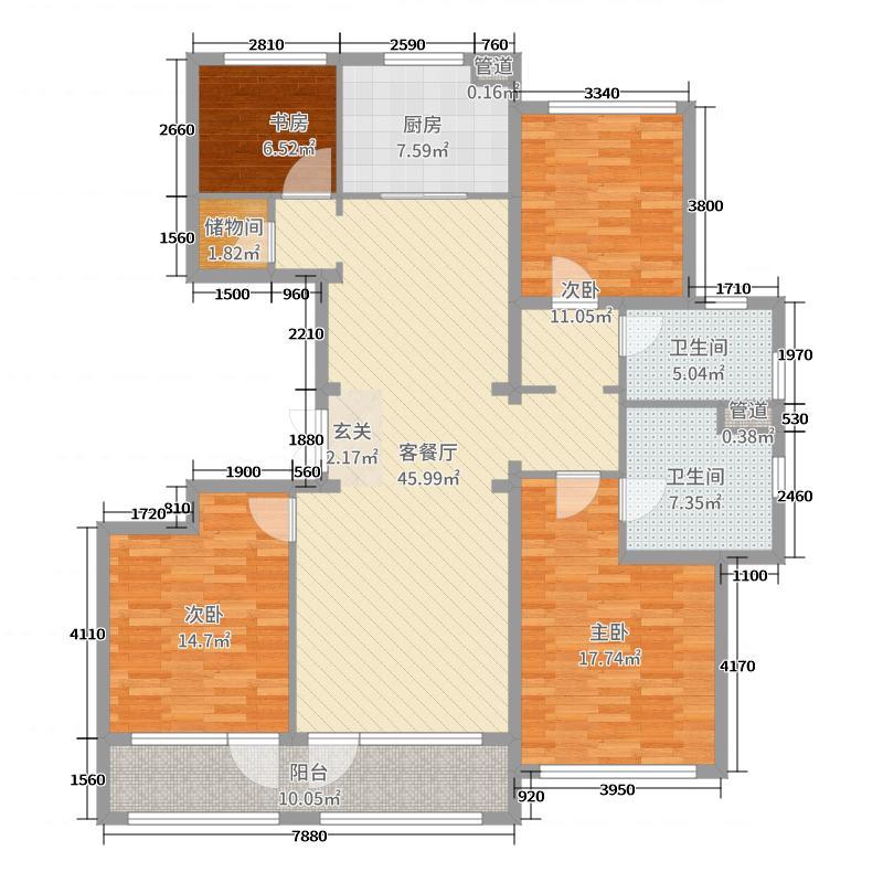 绿城理想之城熙园160.00㎡C户型4室4厅2卫1厨