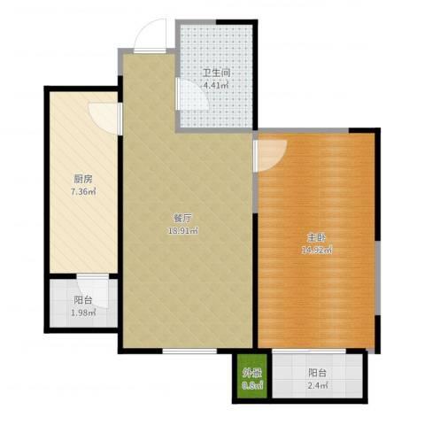 心源家园1室1厅1卫1厨63.00㎡户型图