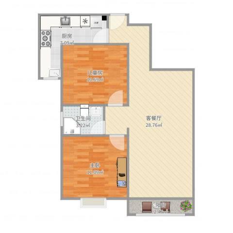 金色花语城2室2厅1卫1厨79.00㎡户型图