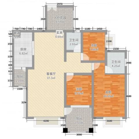 阳光新城3室2厅2卫1厨122.00㎡户型图