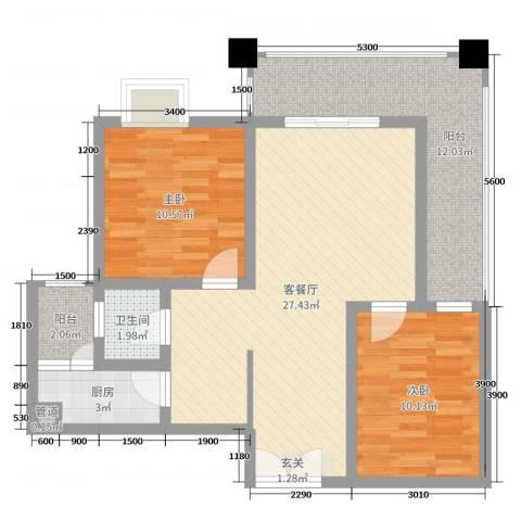 阳光新城2室2厅1卫1厨80.00㎡户型图