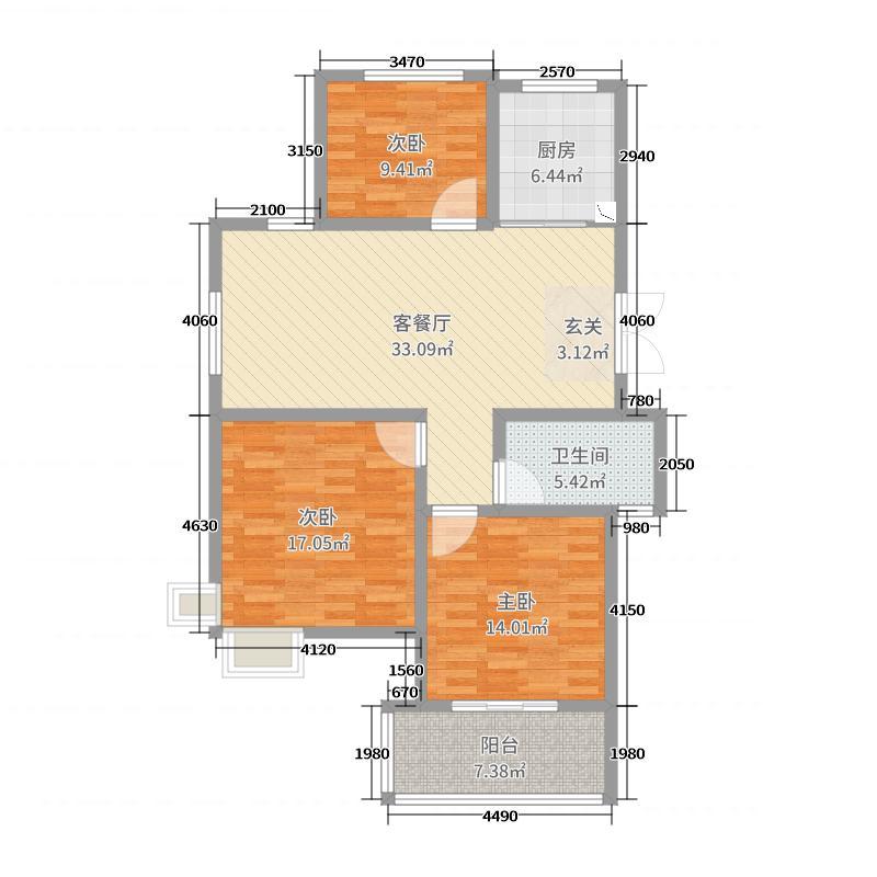 今日星城-夷安枫景116.00㎡57#B3库·116户型3室3厅1卫1厨