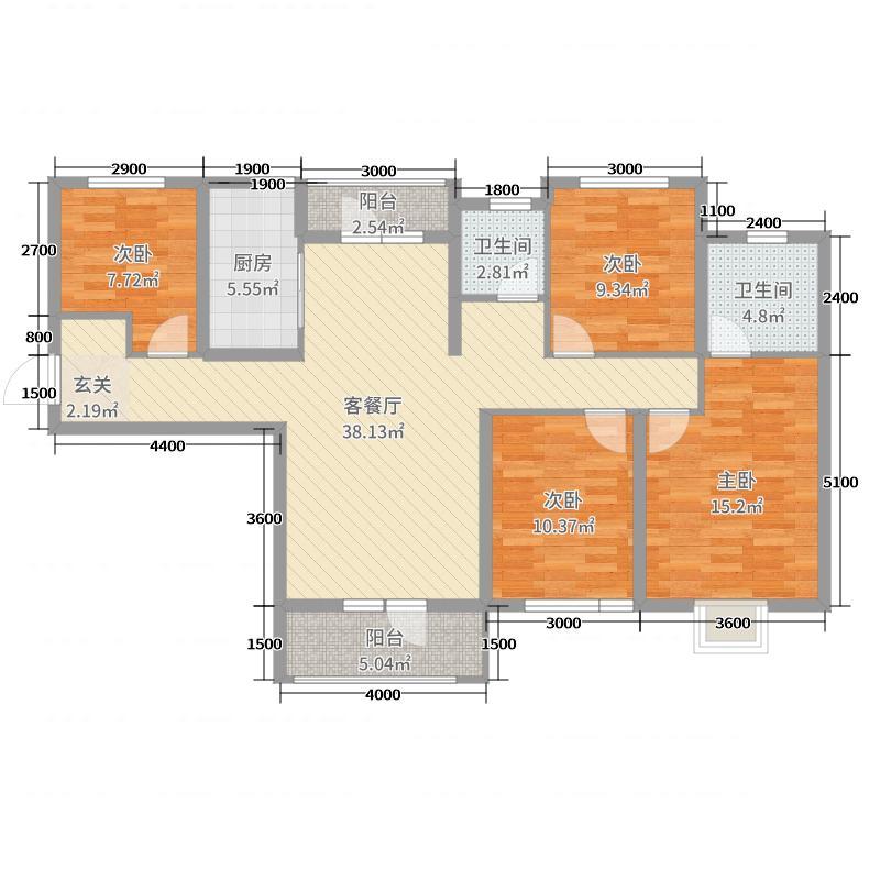 美联奥林匹克花园五期138.23㎡43号楼F2户型4室4厅2卫1厨