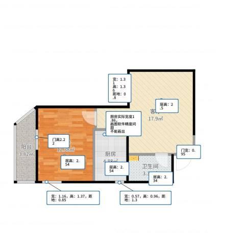 牛街东里1室1厅1卫1厨53.00㎡户型图