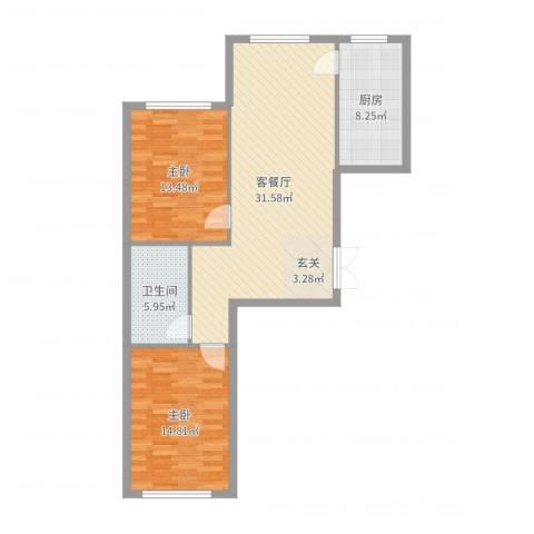 七彩时代广场二期2室2厅1卫1厨93.00㎡户型图