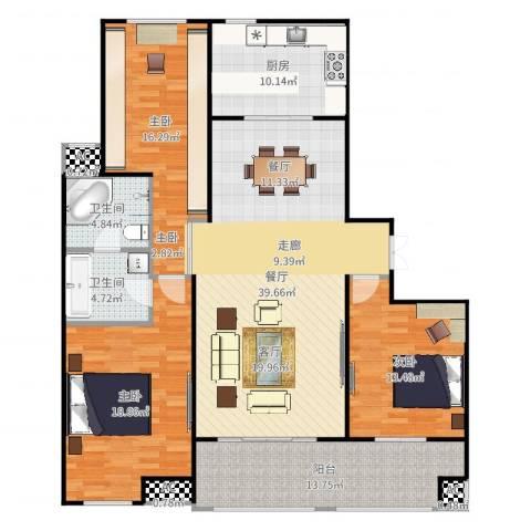 汇智湖畔家园3室1厅2卫1厨154.00㎡户型图